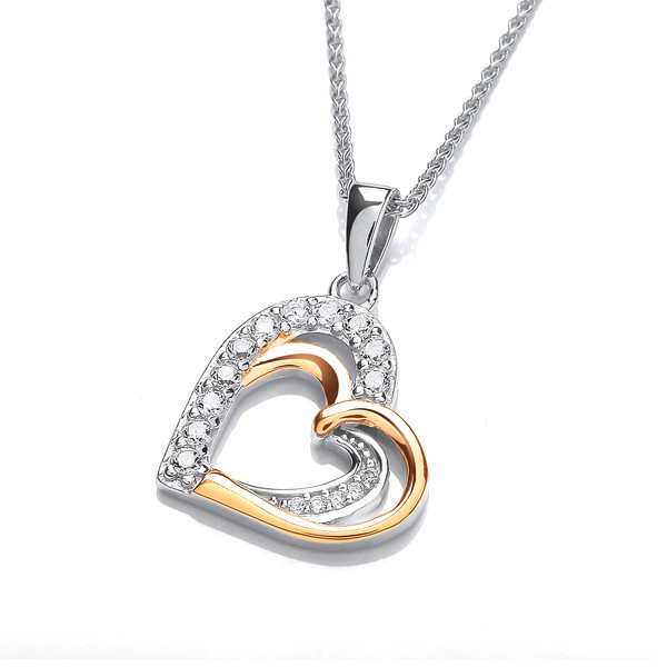 Silver, CZ and Gold Vermeil Double Heart Pendant without Chain