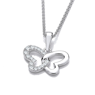 Silver and CZ Open Butterfly Pendant