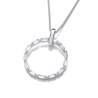 Silver & Cubic Zirconia Life Circle Pendant