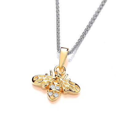 Silver, CZ and Gold Vermeil Honey Bee Pendant