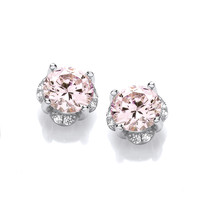 In the Pink Diamond CZ Solitaire Earrings