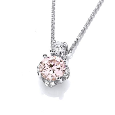 In the Pink Diamond Cubic Zirconia Solitaire Pendant