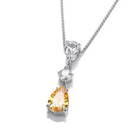 Silver and Citrine CZ Vintage Style Teardrop Pendant