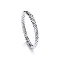 Sterling Silver Thick Twist Full Circle Bangle