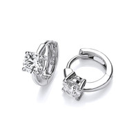 Tiny Cubic Zirconia Solitaire Silver Huggie Earrings