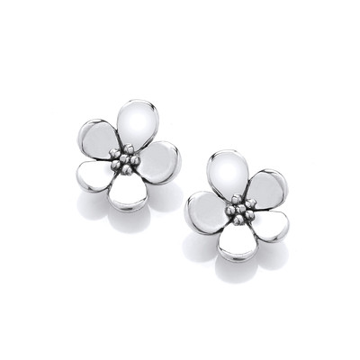 Sterling Silver Single Forget-Me-Not Earrings