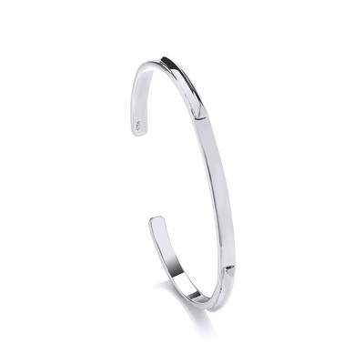 Silver Wedge Edge ID Bangle