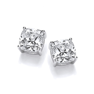 Silver and Cubic Zirconia Square Stud Earrings