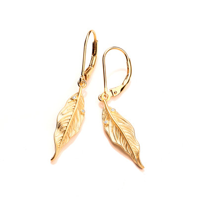 Silver, Cubic Zirconia & Gold Vermeil Willow Earrings