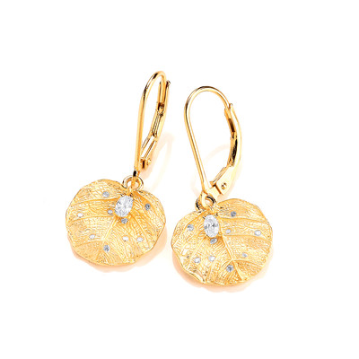 Silver, Cubic Zirconia & Gold Vermeil Elder Earrings