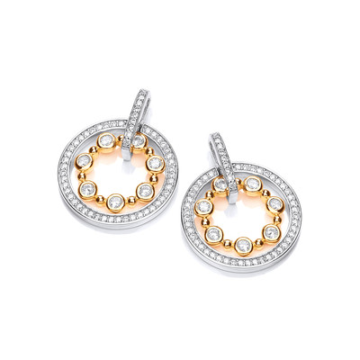Silver, Cubic Zirconia & Gold Vermeil Queen Earrings