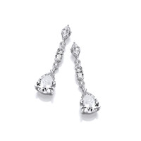 Silver & Cubic Zirconia Glamorous Drop Earrings