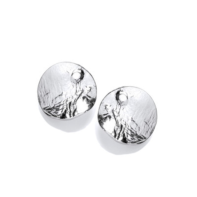 Silver Wavy Lunar Earrings