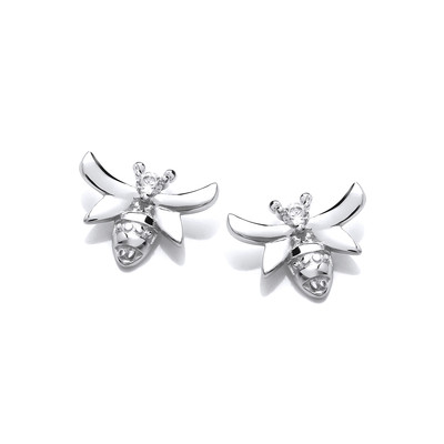 Silver & Cubic Zirconia Cute Bee Earrings