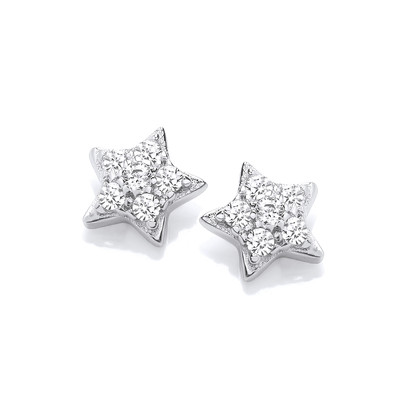 Silver & Cubic Zirconia Star Stud Earrings