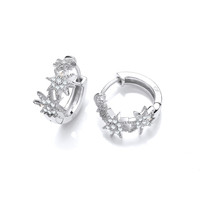 Silver & Cubic Zirconia Stars Huggie Earrings