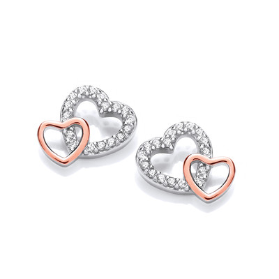 Silver, Cubic Zirconia & Rose Gold Double Heart Earrings