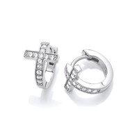 Silver & Cubic Zirconia Cross Huggie Earrings
