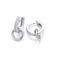 Silver & Cubic Zirconia Loop Huggie Earrings