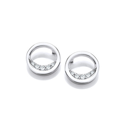 Silver & Cubic Zirconia Over the Moon Earrings