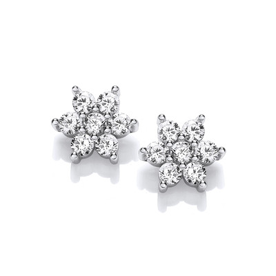 Silver & Cubic Zirconia Sirius Star Earrings