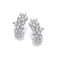 Silver & Cubic Zirconia Star Cluster Earrings