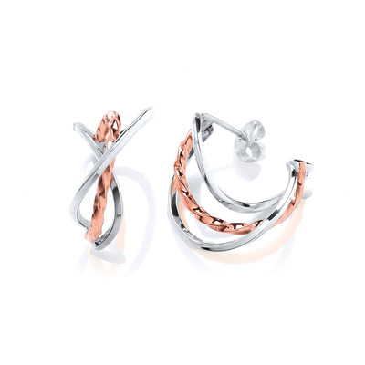 Silver & Copper Twist Hoop Earrings