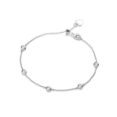 Studded Silver and Cubic Zirconia Bracelet