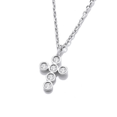 Silver & Cubic Zirconia Modern Cross Necklace
