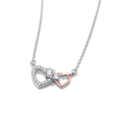 Silver, Cubic Zirconia & Rose Gold Double Heart Necklace