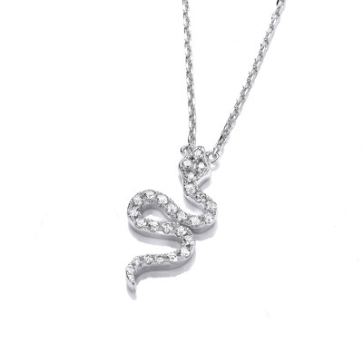 Cubic Zirconia & Silver Snake Necklace