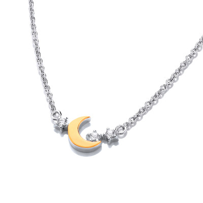 Silver, Cubic Zirconia & Gold Moon Necklace