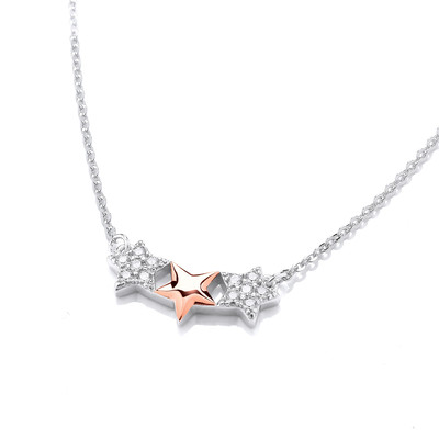 Silver, Cubic Zirconia & Gold Shooting Star Necklace