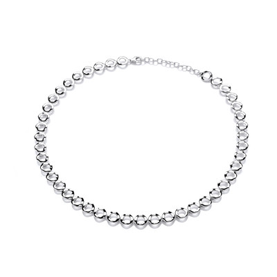 Wavy Circles Silver Necklace