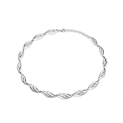 Barley Twist Silver Necklace
