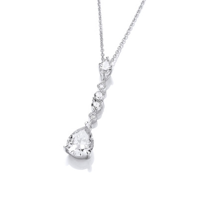 Silver & Cubic Zirconia Glamorous Drop Necklace