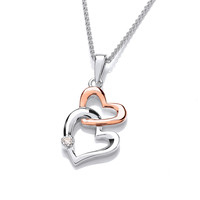 Silver & Rose Gold Double Heart Pendant
