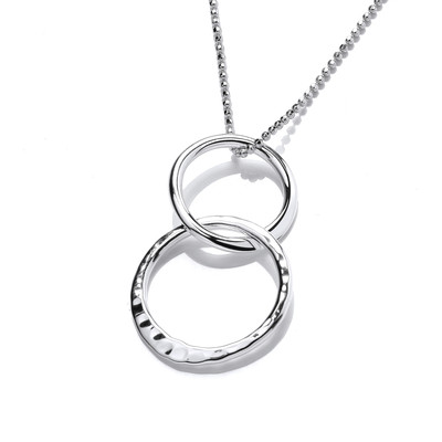 Silver Double Hammered Hoop Pendant