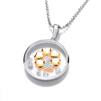 Celestial Silver, Cubic Zirconia & Gold Love Pendant