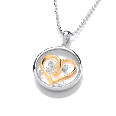 Celestial Silver, Cubic Zirconia & Gold Entwined Hearts Pendant