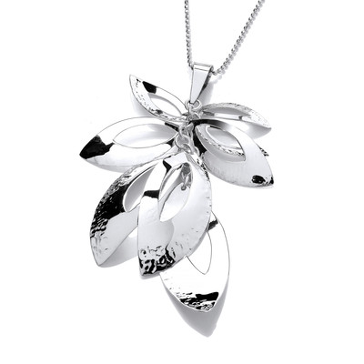 Tumbling Leaves Silver Pendant