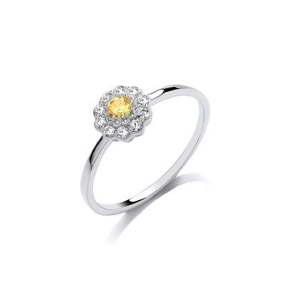 Silver & Citrine Cubic Zirconia Flower Ring