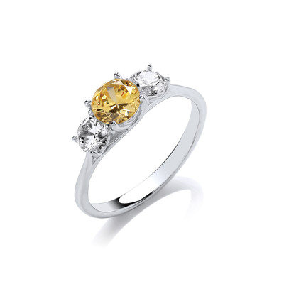 Silver & Citrine Cubic Zirconia Classic Ring