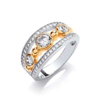 Silver, Cubic Zirconia & Gold Vermeil Queen Ring