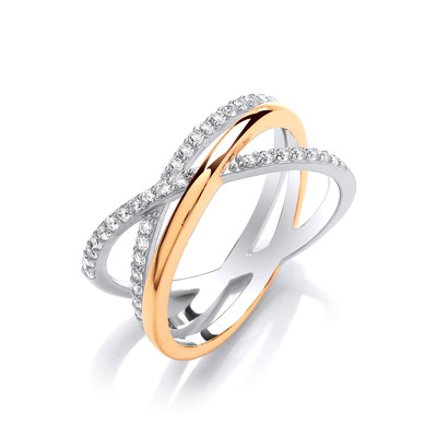 Silver, Cubic Zirconia & Gold Crossover Ring