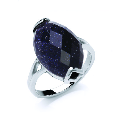 Oval Blue Sandstone Ring