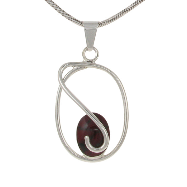 Sterling Silver and Formed Red Jasper Small Swirl Pendant without Chain