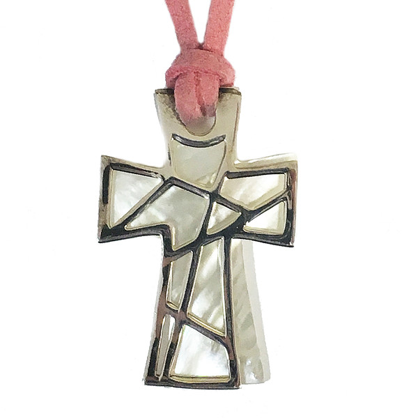 Mother of Pearl & Silver Filigree Cross Pendant