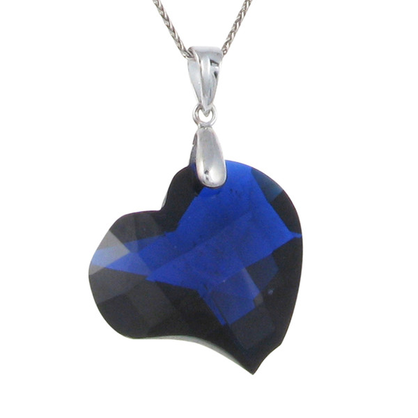 Blue CZ Heart Pendant without Chain