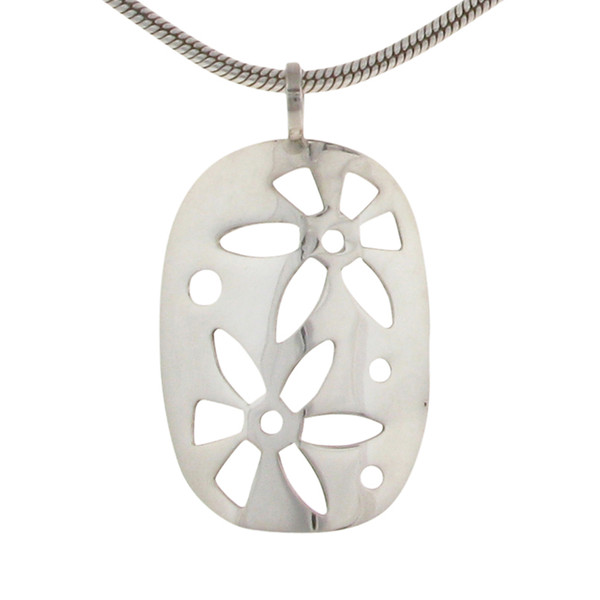 "Silver oval pendant with cut-out flowers with an 18 - 20"" Silver Chain"